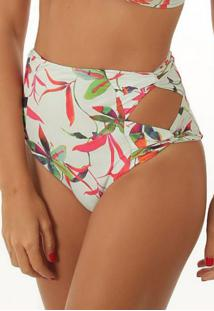 Calcinha Flee! Hot Pant Recorte Floral Branca