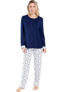 Pijama De Inverno Feminino Aberto Azul Floral - Tricae