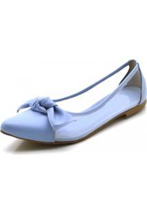 Sapatilha Dududias10 Feminino Bico Fino Com Transparência Em Napa Azul Serenity Azul