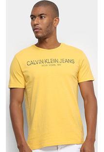 Camiseta Calvin Klein Jeans Manga Curta Masculina - Masculino-Amarelo Escuro
