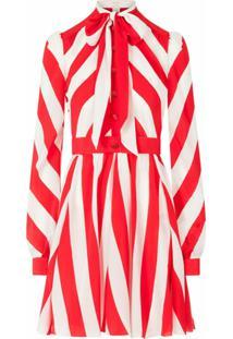 Dolce & Gabbana Vestido Com Listras De Crepe Da China - Vermelho