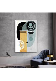 Quadro 90X60Cm Abstrato Geométrico Oriental Geisha Moldura Branca Com Vidro