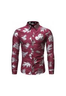Camisa Masculina Florida Leaf - Vermelha