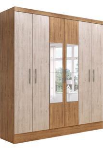 Guarda-Roupa Casal Com Espelho Marselha 6 Pt 2 Gv Ipê E Bege