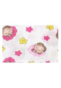 Fronha Bebê Feminina Algodão Branco E Rosa Mônica Baby - Turma Da Mônica - Tamanho Único - Branco,Rosa