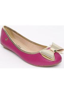 Sapatilha Em Couro Com Laço- Pink & Douradacarmen Steffens