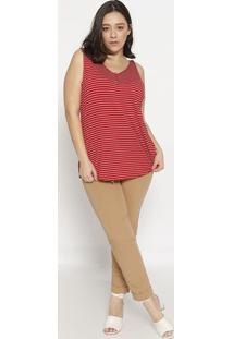 Blusa Listrada Com Recortes- Vermelha & Branca- Rovirovitex