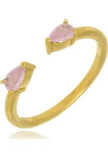 Anel Ajustável Duas Gotas Quartzo Rosa Di Capri Semi Jóias X Ouro Dourado
