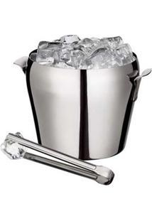 Balde Para Gelo Euro Home Com Pegador Em Aço Inox- 1,5 L