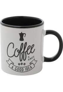 "Mini Caneca ""Coffee""- Branca & Preta- 140Ml- Urburban"
