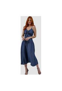 Vestido Jeans Zayon Longuete Azul Médio