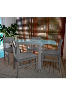Conjunto De Mesa De Jantar Extensível Pólito Com 4 Cadeiras Carioca Branco E Cinza