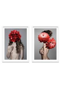 Quadro 67X100Cm Freya Mulher Com Flores Vermelhas Nórdico Moldura Branca Sem Vidro