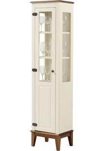 Cristaleira Laura 1 Porta Cor Off White Com Amendoa 180 Cm - 63430 - Sun House