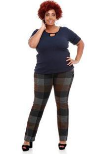Blusa Canelada Melinde Plus Size Feminina - Feminino-Azul