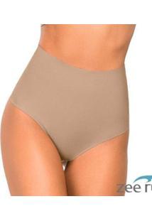 Calcinha Fio Dental Alta Nude Cotton Bege Ca105 - Feminino-Bege