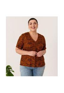 Blusa Animal Print Curve & Plus Size | Ashua Curve E Plus Size | Marrom | Eg
