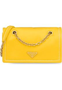 Prada Bolsa Tiracolo Com Alça Em Corrente - Amarelo