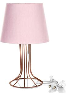 Abajur Torre Dome Rosa Com Aramado Cobre - Rosa - Dafiti