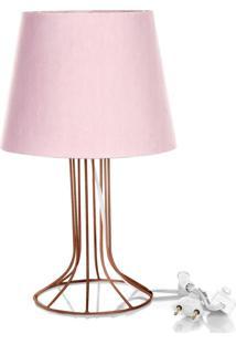 Abajur Torre Dome Rosa Com Aramado Cobre