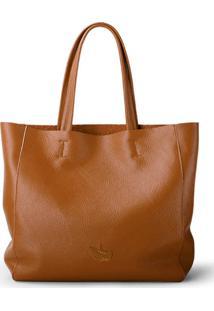 Bolsa Line Store Leather Sacola Shopper N2 Couro Caramelo - Kanui