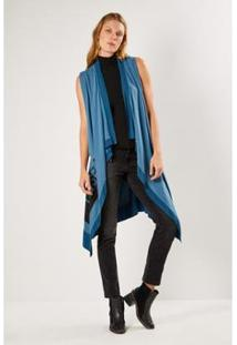 Colete Malha Silk Desert Sacada Feminino - Feminino-Azul