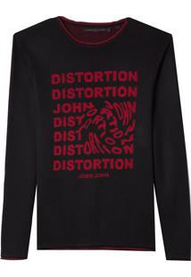 Blusa John John Tricot Distortion Preto Masculina (Preto, M)