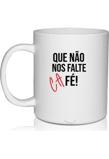 Caneca Branca Personalizada Fé E Café