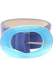 Cinto Birô Fivela Oval Feminina - Feminino-Azul