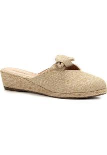 Mule Anabela Shoestock Laço Feminina - Feminino-Bege