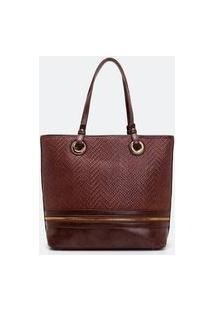 Bolsa Grande Shopper Com Textura | Satinato | Marrom | U