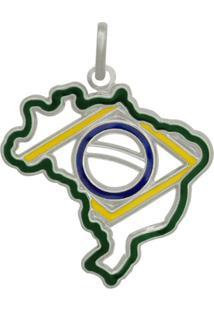 Pingente Prata Mil Mapa Do Brasil Com Bandeira Vazada Com Resina Prata