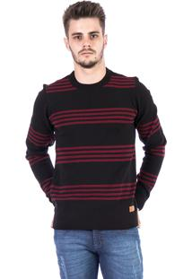 Blusa Tricot Carlan Decote Redondo Als Preto