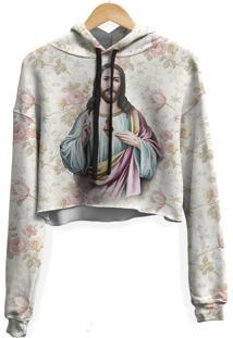 Blusa Cropped Moletom Feminina Over Fame Jesus Floral Md01 - Kanui