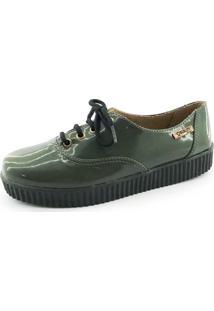Tênis Creeper Quality Shoes Verniz Verde Militar