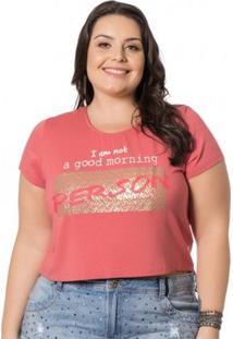 Blusa Cropped Plus Size Miss Masy - Feminino-Rosa