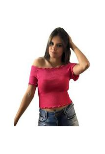 Tricô Blusa Cropped Pink Tricot Ombro A Ombro Canelado E Babado