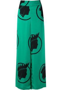 Amir Slama Calça Pantalona Índio De Seda - Verde