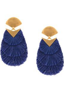 Katerina Makriyianni Par De Brincos Oversized Com Franjas - Azul