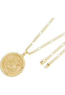 Pingente São Jorge Com Corrente Italiana Fígaro Tudo Joias Fecho Gaveta Folheado A Ouro 18K Dourada