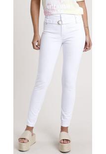 Calça De Sarja Feminina Sawary Skinny Cintura Alta Com Cinto Branca
