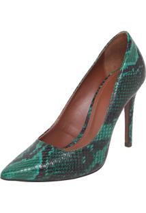 Scarpin My Shoes Bico Fino Cobra Verde/Preto