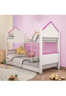 Beliche Infantil Casinha Prime Branco E Rosa Com Colchões Casah