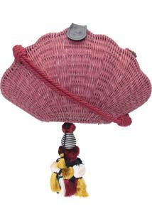 Bolsa Feminina Concha Em Rattan - Vermelho