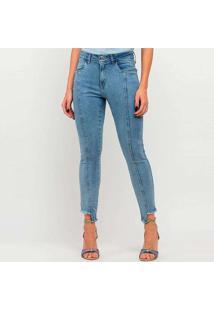 Calça Jeans Elora Cropped Destroyed Feminina Azul