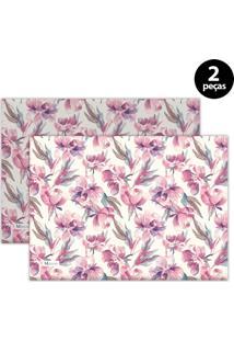 Jogo Americano Mdecore Floral 40X28 Cm Rosa 2Pçs