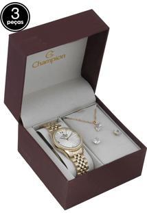 Kit 3Pçs Relógio Champion Cn25790E Dourado
