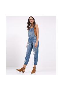 Macacão Jeans Longo Com Puídos   Blue Steel   Azul   P