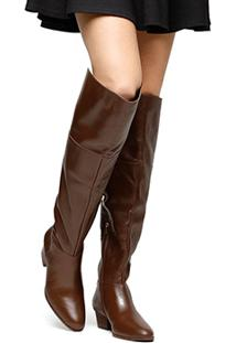 Bota Couro Over The Knee Shoestock Zíper Feminina - Feminino-Marrom