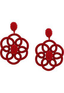 Oscar De La Renta Flower Beaded Earrings - Vermelho